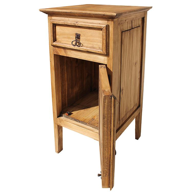 Rustic pine collection tall texas nightstand for Extra tall nightstands