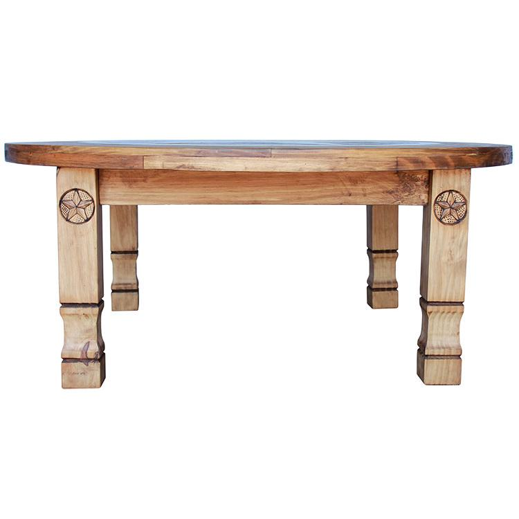 Mexican Rustic Pine Coffee Table: Round Julio Marble TopCoffee