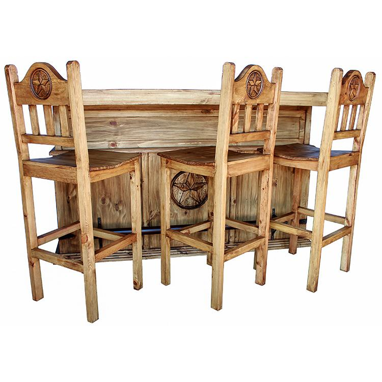 Rustic pine collection short lone star bar stool ban524 for Rustic home bar furniture