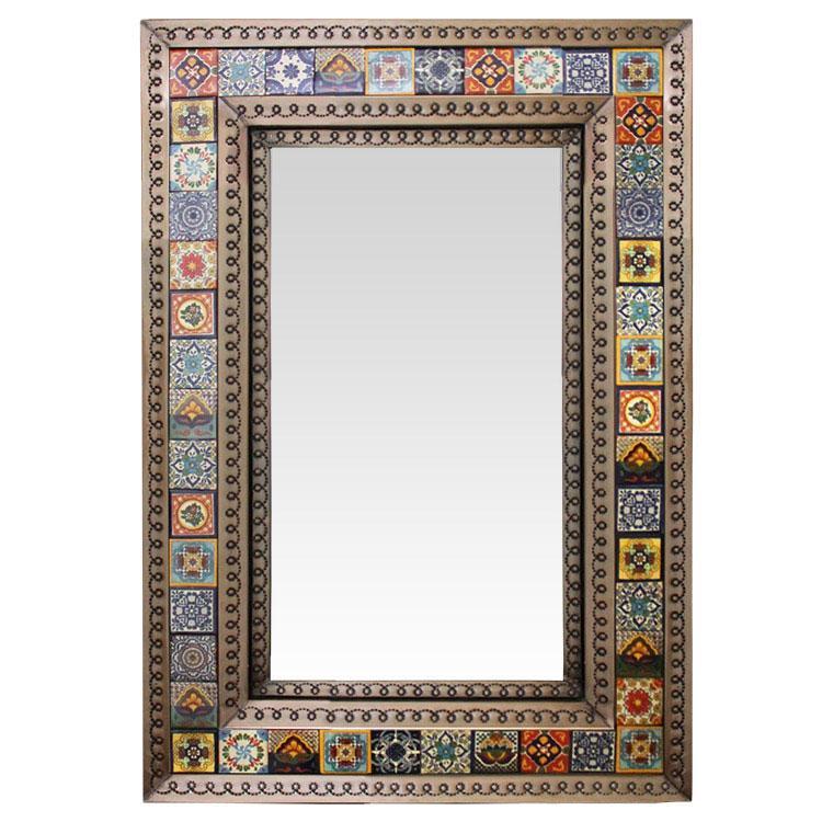 Small Tile Mirror Oxidized Finish