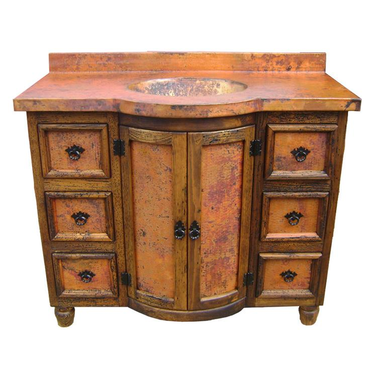 Sink Vanities Curved Six Drawer Vanityw Copper Doors