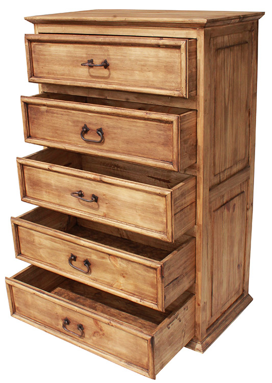 Rustic Pine Collection Tall 5 Drawer Dresser Com112