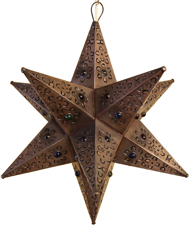 Mexican Tin Lighting Collection Cancun Star w Marbles