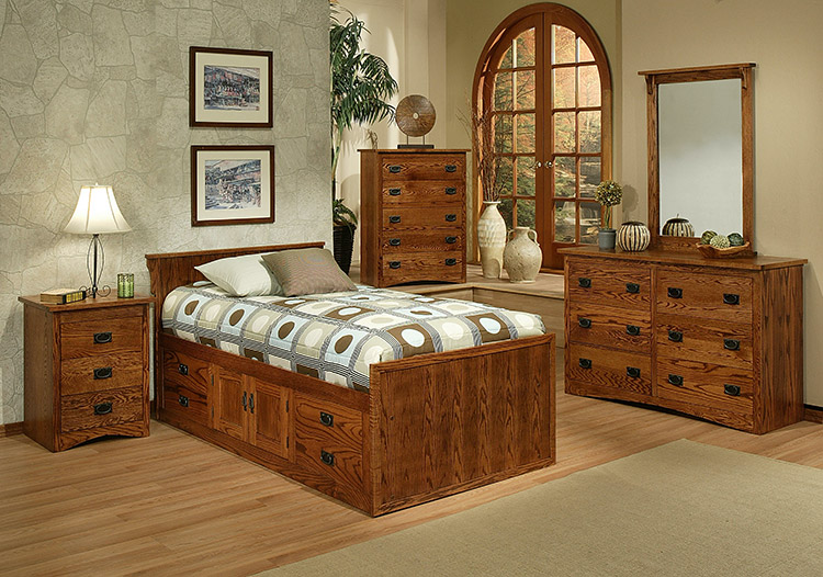 bedroom american mission oaktwin chest bed w headboard