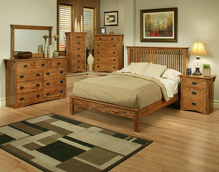 bedroom american mission oakplatform bed m458