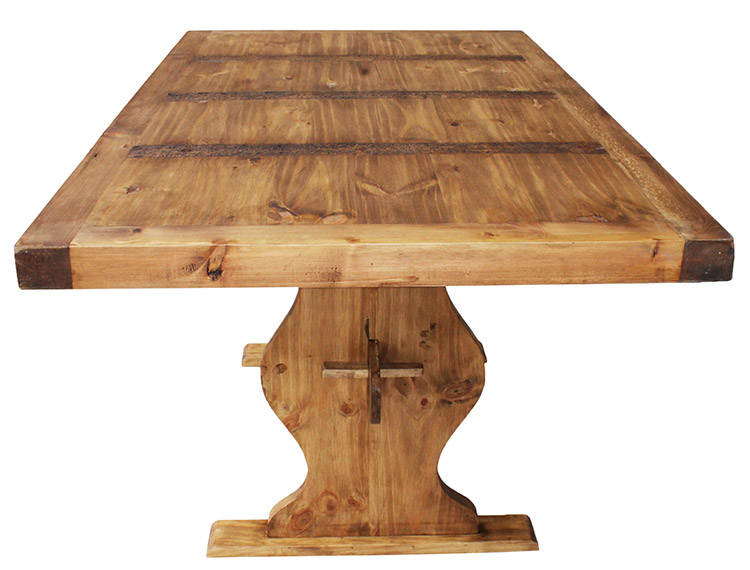 Rustic Pine Collection Trestle Dining Table MES01