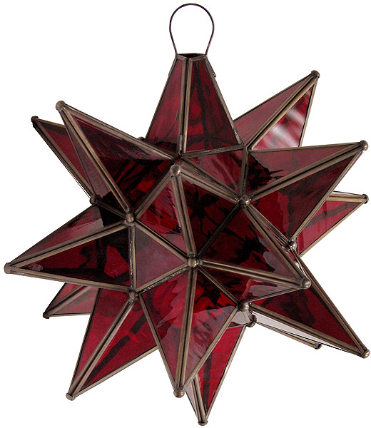 Mexican Tin Lighting Collection Red Glass Star Lamc05