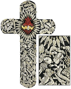 Large Black and Red Cross with Silver Milagros