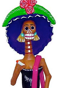 Clay Catrina Figurine