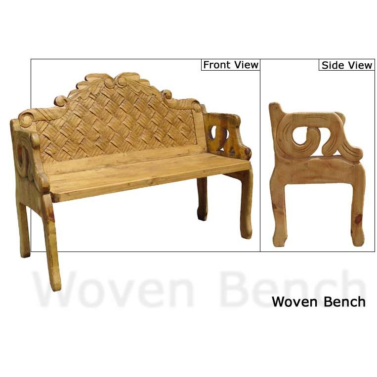 Carved Collection Woven Bench Cb204
