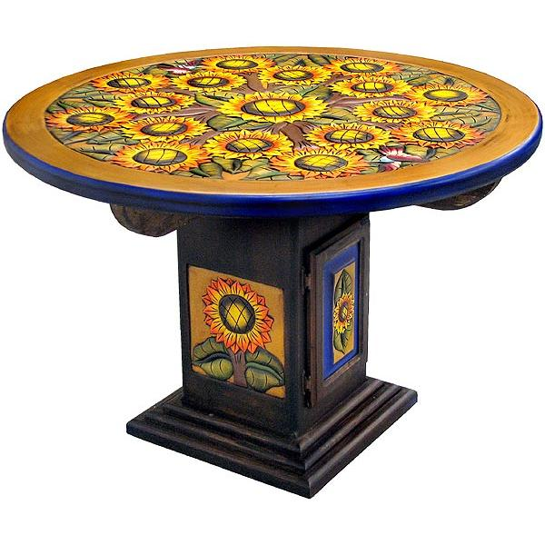 Carved Collection - Round SunflowerDining Table - CDT040