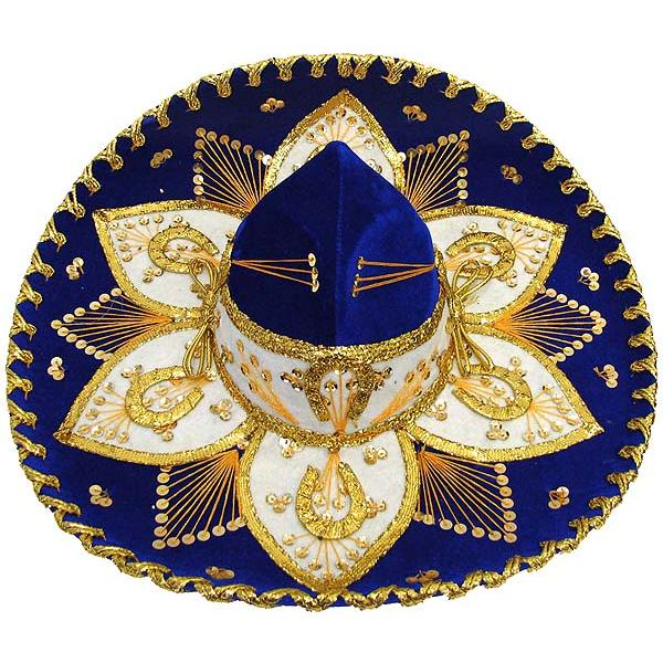 Mexican Sombreros Collection Blue amp Gold Charro Sombrero  : som001 from www.lafuente.com size 600 x 600 jpeg 88kB