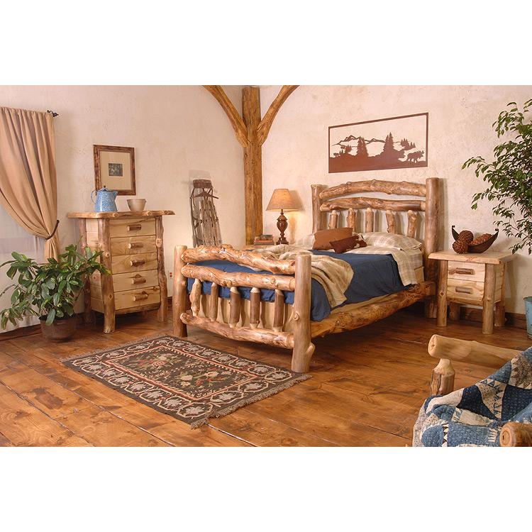 Aspen log collection homestead bed hsb - Log bedroom furniture ...