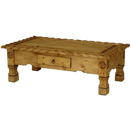 Mexican Rustic Pine Coffee Table: Texana Star Coffee Table