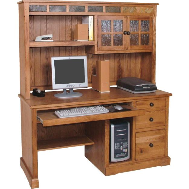 Rustic Oak Computer Desk W Hutch