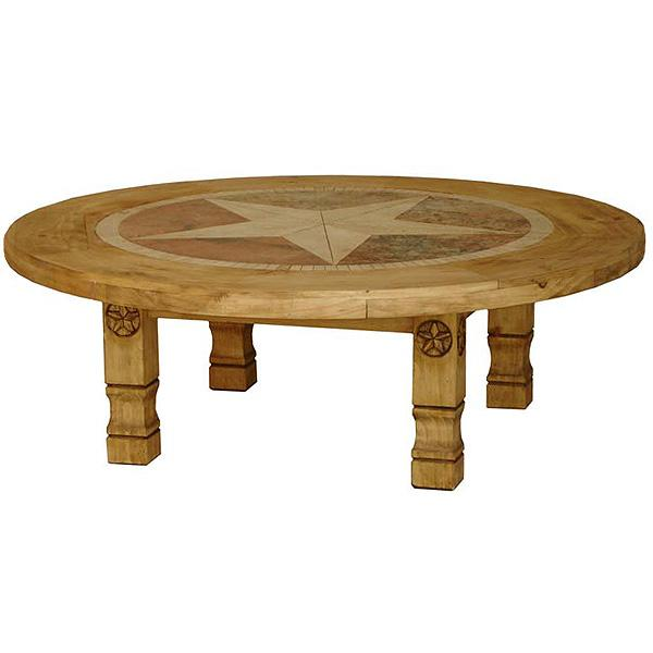 Rustic Pine Collection Round Julio Star Coffee Table W Inlaid Marble Cen953