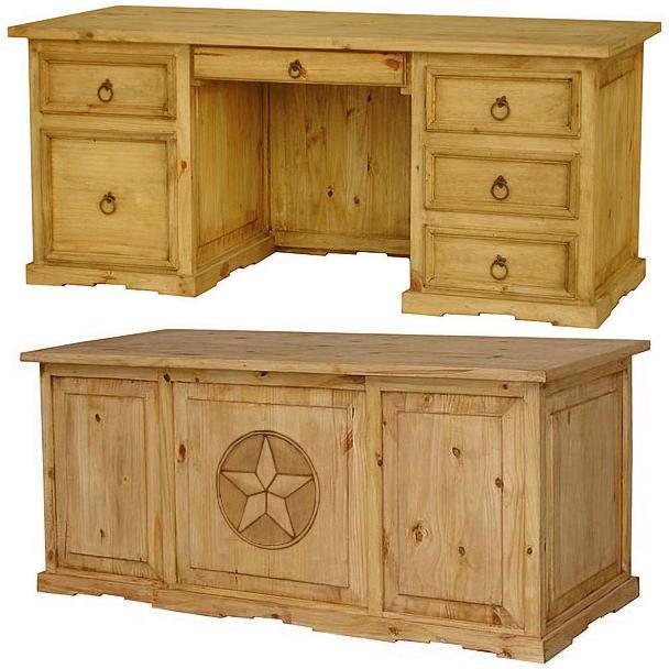 Rustic Americana Hardwood Executive Desk Home Office: Texas Executive Deskw/Drawer