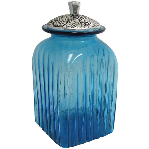 Blown glass canisters collection renaissance kitchen canister gkc007 - Blue glass kitchen canisters ...
