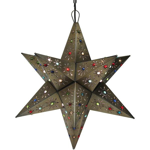 Mexican Tin Lighting Collection Tonala Star W Marbles