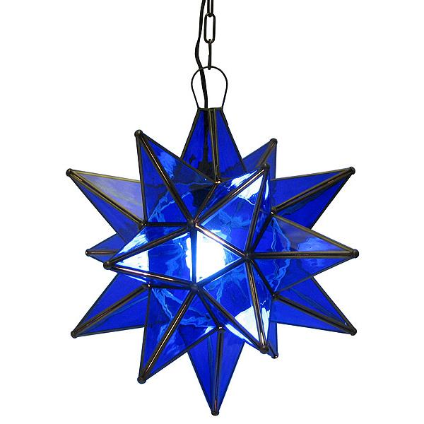 Mexican Tin Lighting Collection Blue Glass Star Lamc10