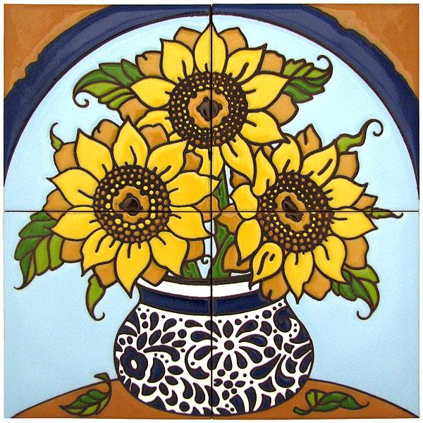 Decorative tile collection floral tile mural hdm023 for Decorative tile mural