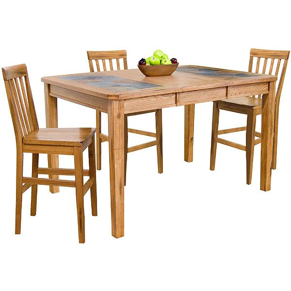 Rustic Oak Slate Collection Rustic OakCounter Height Extension - Dining table with slate inlay