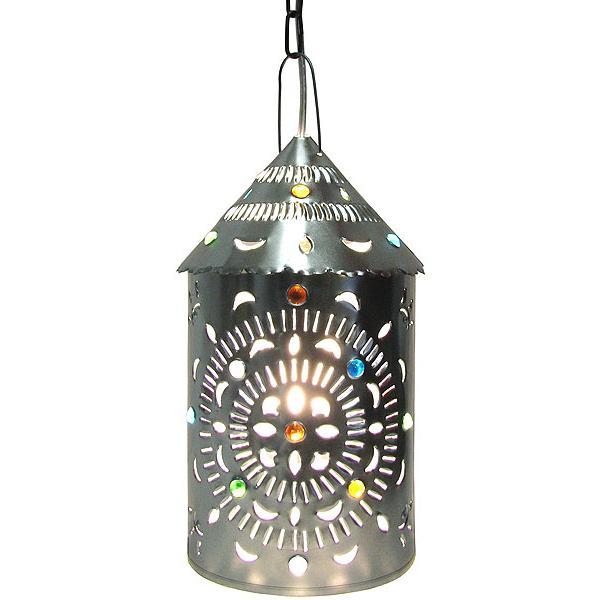 Merida Lantern w/Marbles Natural Finish  sc 1 st  La Fuente Imports & Mexican Tin Lighting Collection - Merida Lantern w/Marbles:Natural ...