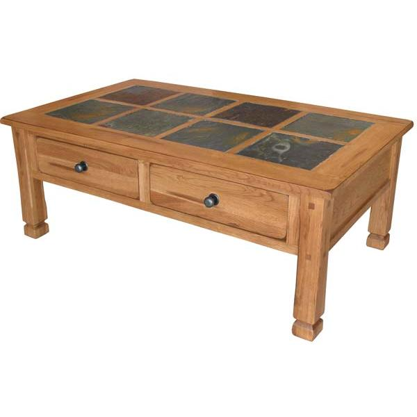 Rustic oak slate collection rustic oakslate top table set 3143ro Slate top coffee tables