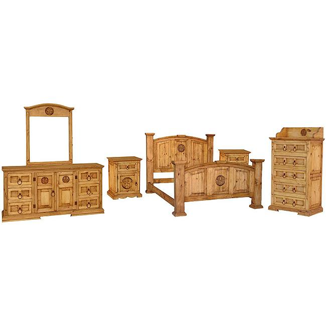 Rustic Pine Collection Mansion Star Bedroom Set BEDSET04