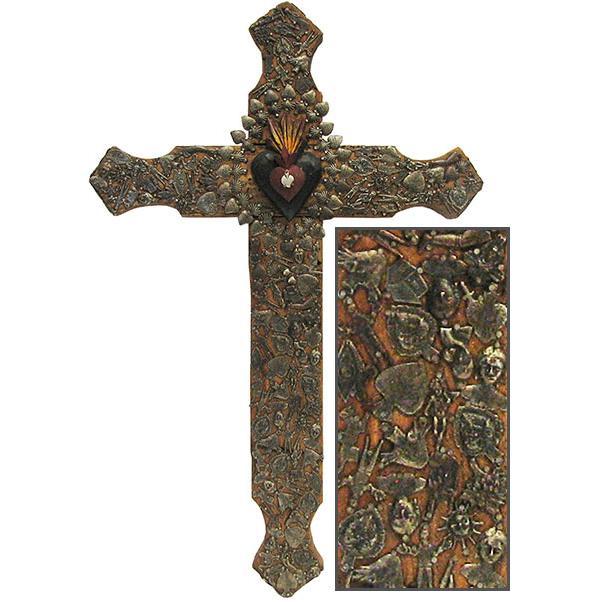 Crosses jumbo brown amp red cross with antiqued milagros mil05b