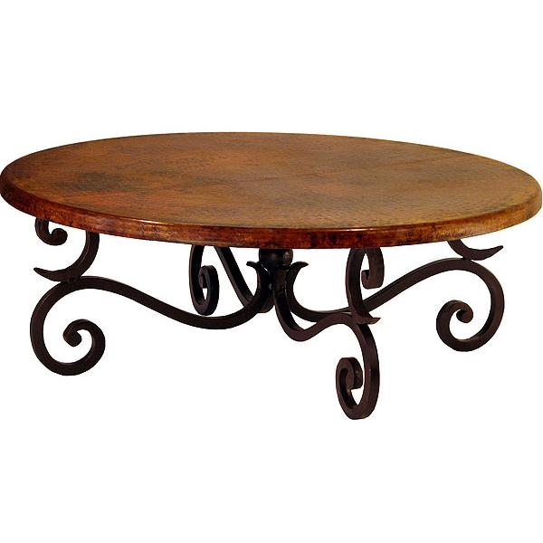 Copper collection forged fountain coffee table cof 88 for Coffee table 48 x 36