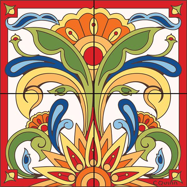 Decorative tile collection floral tile mural hdm026 for Decorative tile mural
