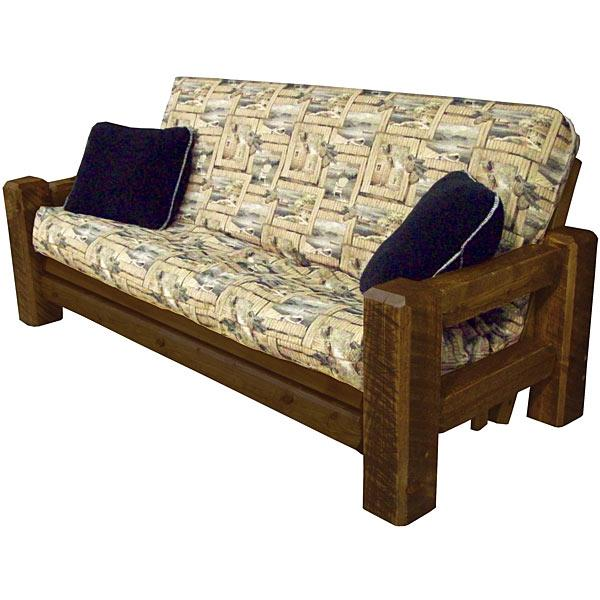 bed rustic potatobag of large frame futon wood club size wooden frames log king