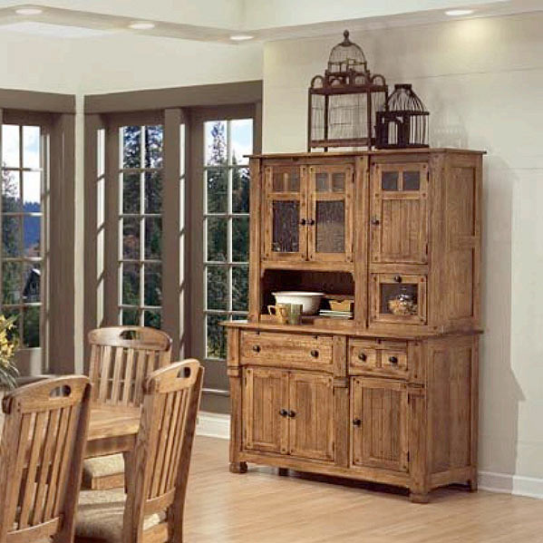 Rustic Kitchen Hutch: Rustic Oak & Slate Collection