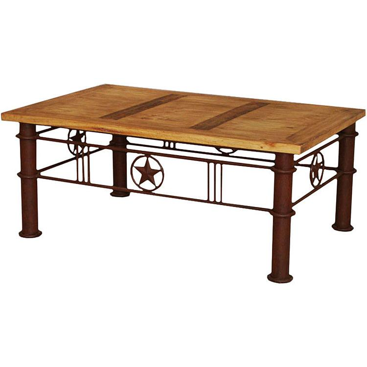 Rustic pine collection iron star coffee table cen421 Rustic iron coffee table