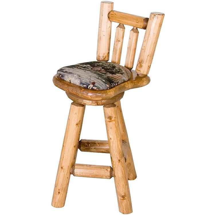Pine Log Seating Short Upholsteredswivel Bar Stool