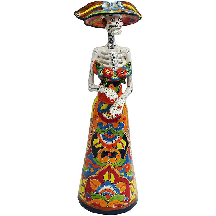 Talavera day of the dead catrina in traditional dress tdd015