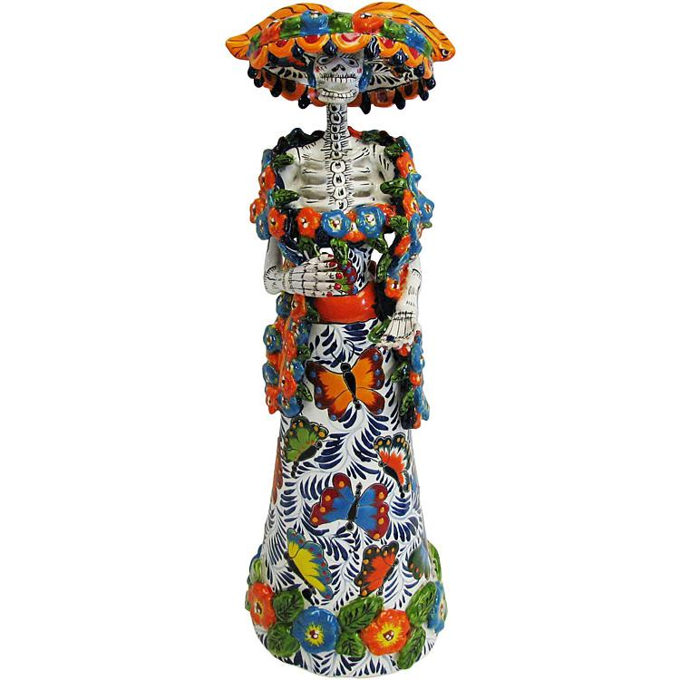 Talavera day of the dead catrina with shawl in butterfly dress