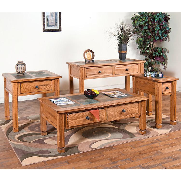 Attractive Rustic Oak Slate Top Table Set