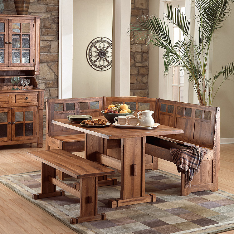 Rustic Oak Slate Collection Rustic Oakbreakfast Nook Set 0219ro