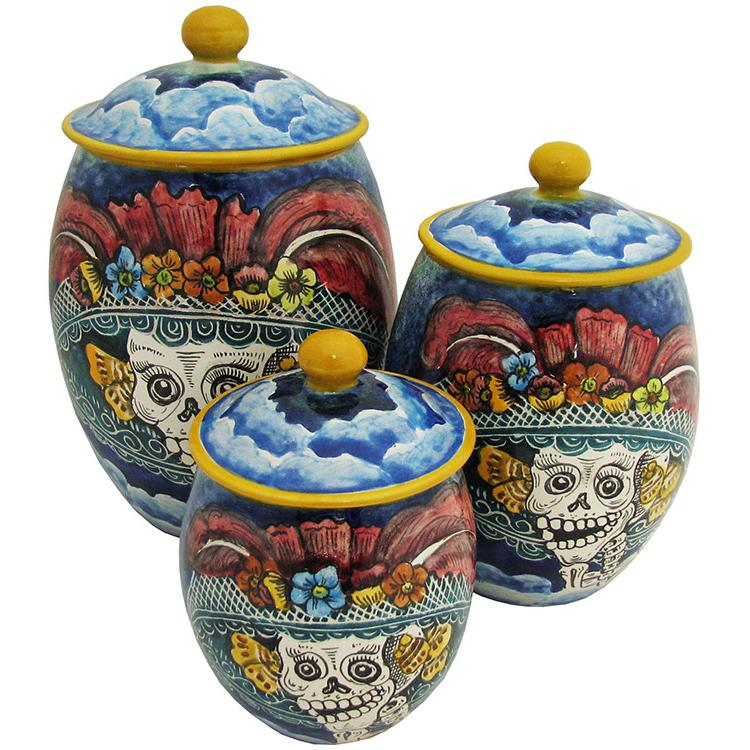santa rosa majolica oval day of the deadkitchen canister