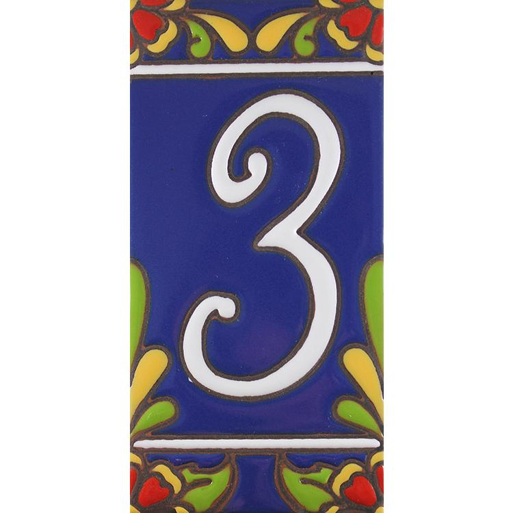 House Number 3:Blue with Red Flowers