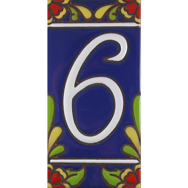 House Number 6:Blue with Red Flowers