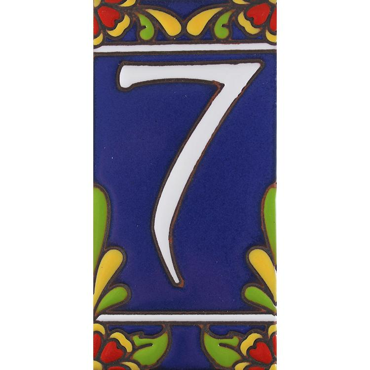 House Number 7:Blue with Red Flowers