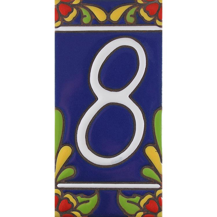 House Number 8:Blue with Red Flowers