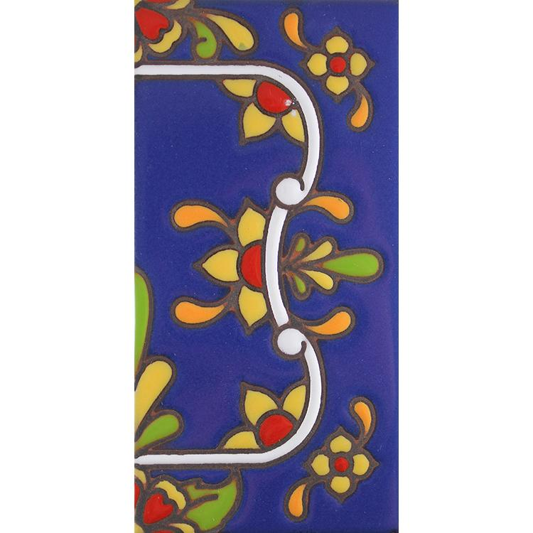Right Side Border Tile:Blue with Red Flowers