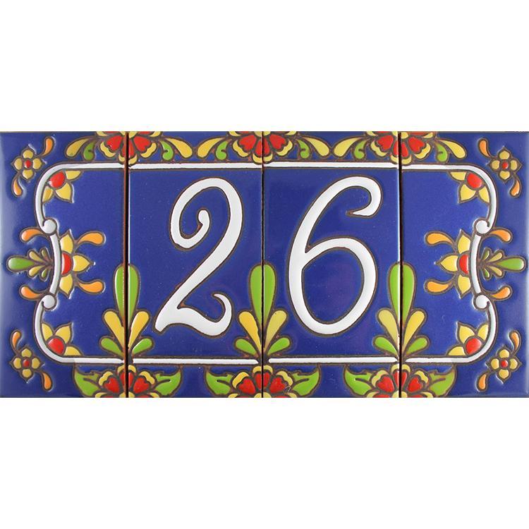 decorative tile collection house numbers cobalt talavera. Black Bedroom Furniture Sets. Home Design Ideas