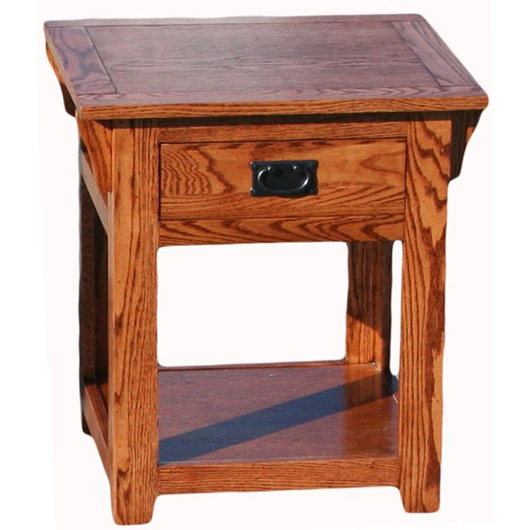 American Mission Oak End Table W/ Shelf U0026 Drawer
