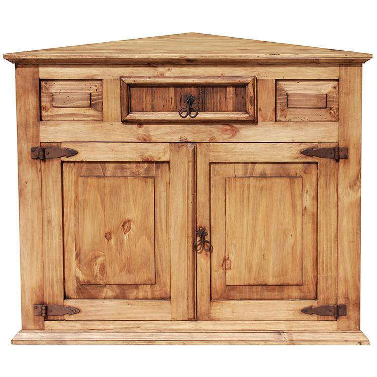 Rustic pine collection corner cabinet com10 for Corner cabinet