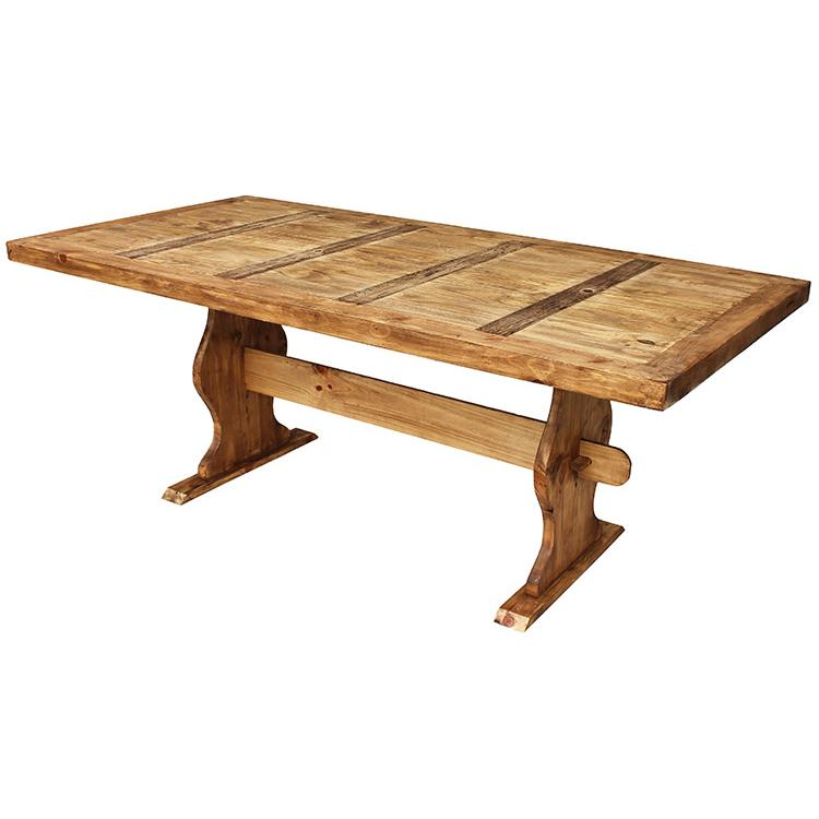 Rustic pine collection trestle dining table mes01 Rustic wood dining table